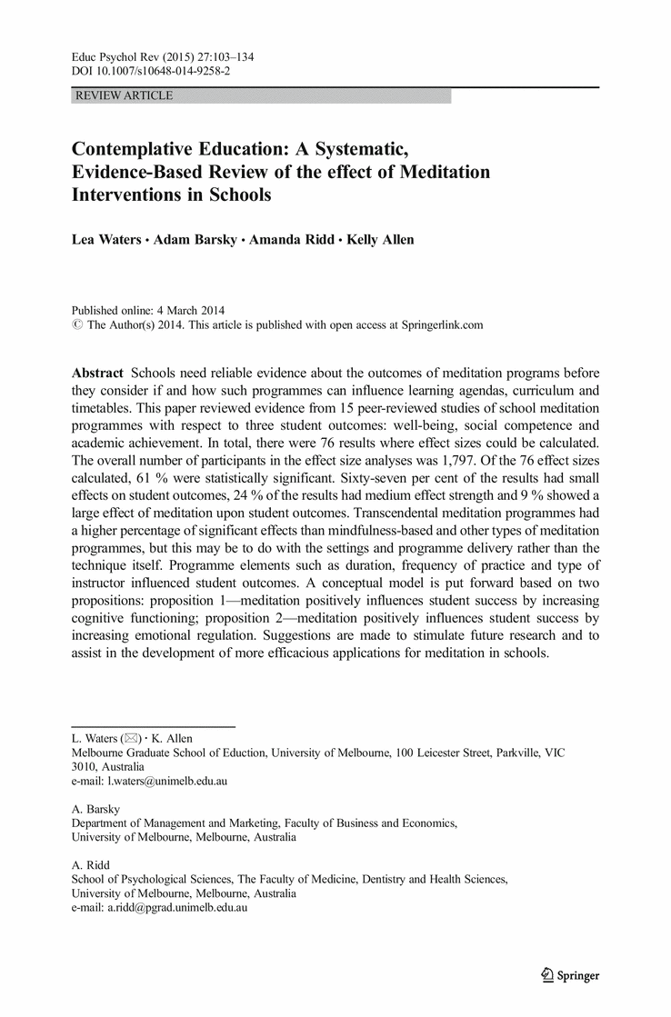 Evidence Based Review Of Effect Of Meditation In Schools