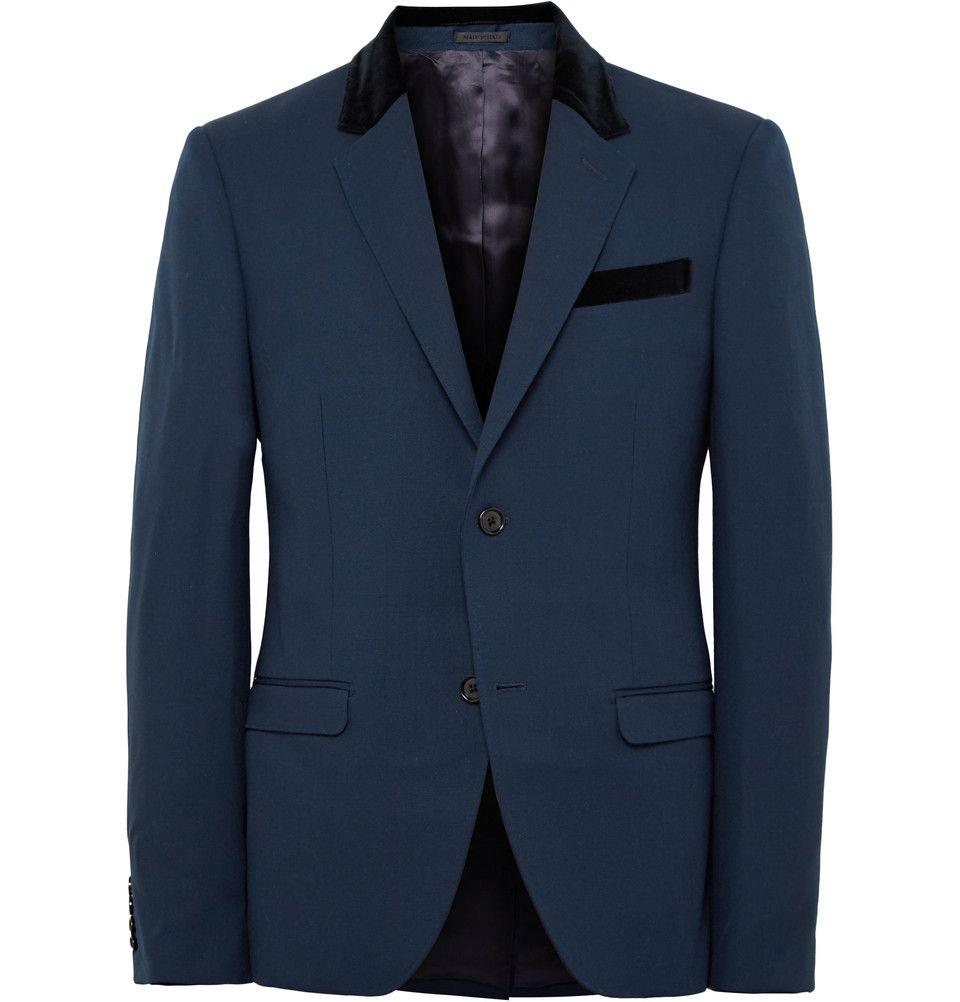 Alexander McQueen - Storm-Blue Slim-Fit Wool and Mohair-Blend Blazer|MR PORTER