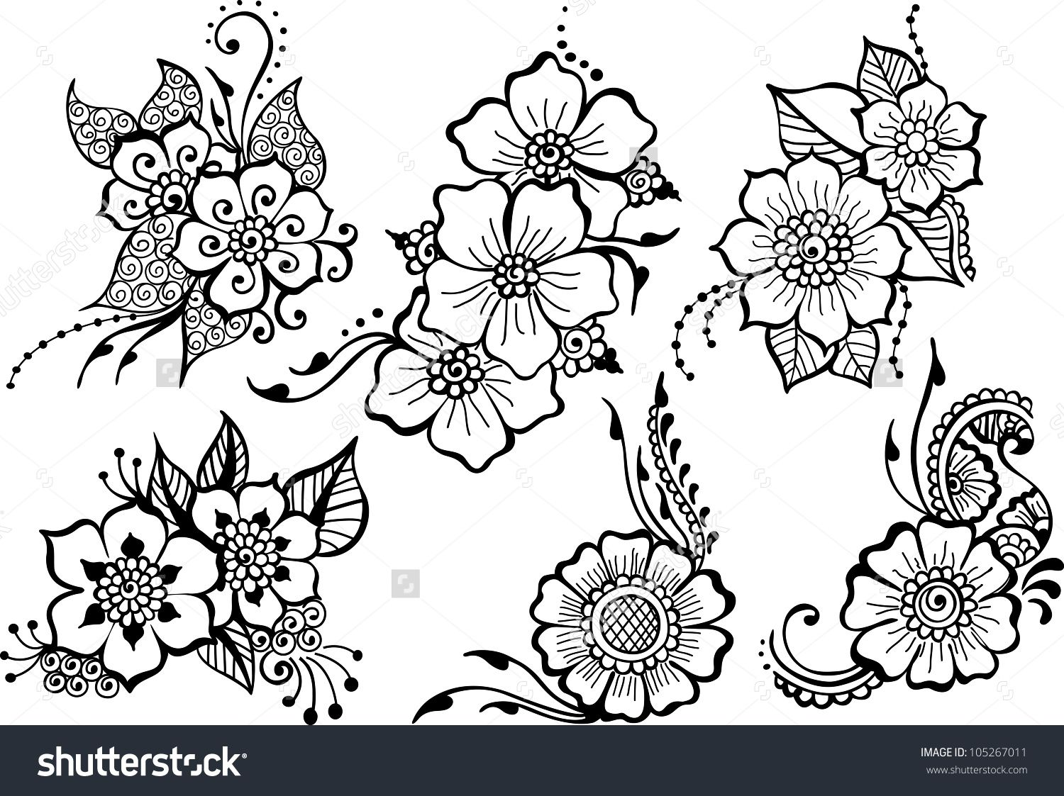Set Of Six Black Vector Flowers Lace Flower Tattoos Flower Line