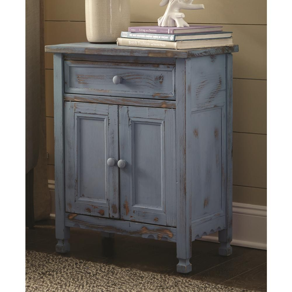 Best Alaterre Furniture Country Cottage Blue Antique Accent 400 x 300