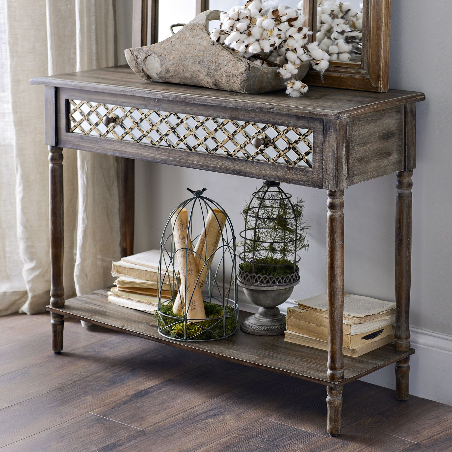 Fantastic Foyer Ideas To Make The Perfect First Impression: Product Details Distressed Rustic Mirrored Console Table