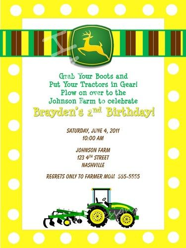 John Deere Party Invitation Free Printable