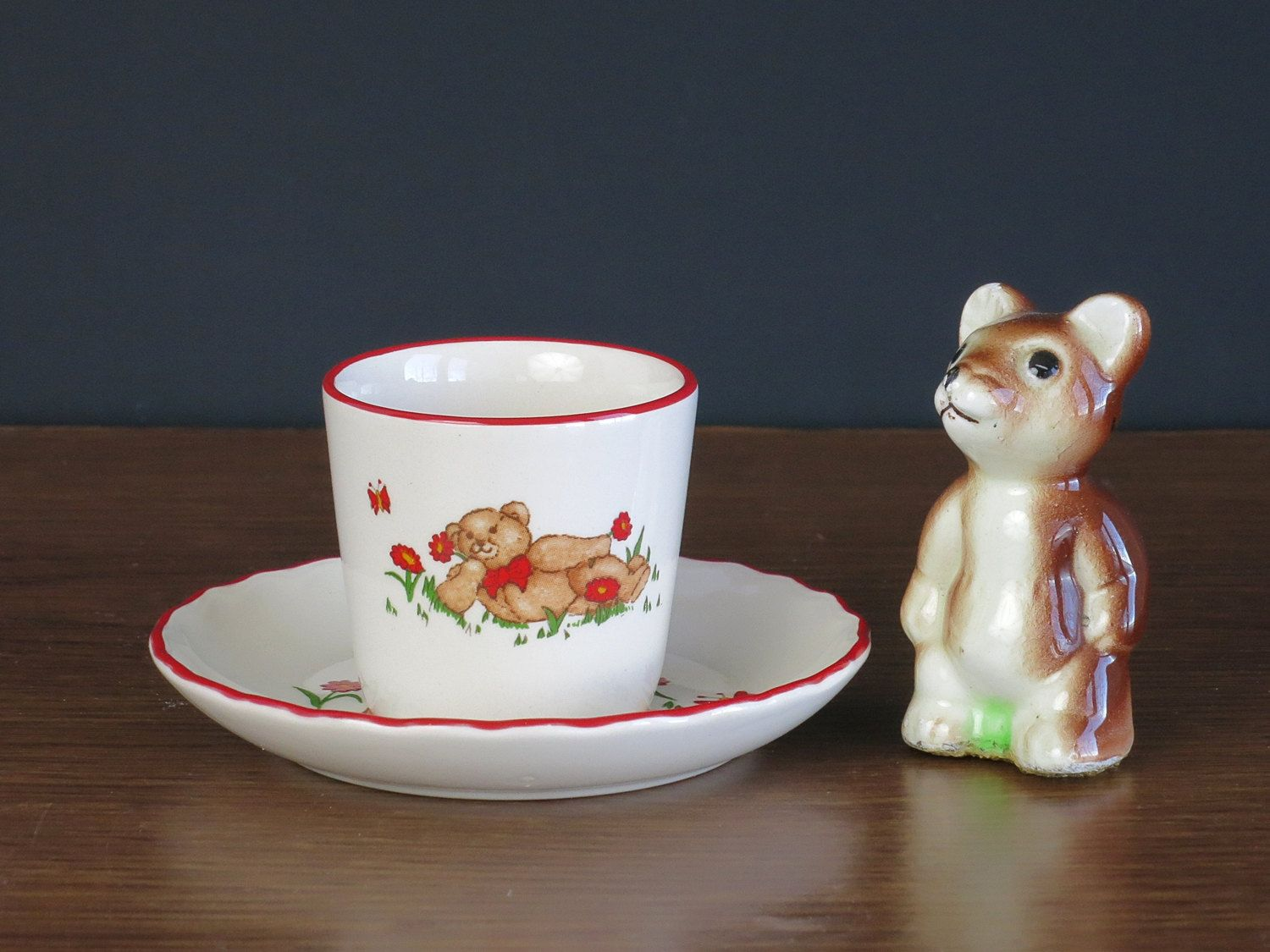 Mason S Teddy Bears Egg Cup And Plate Vintage Ironstone Egg Stand And Saucer Teddy Bear Children S Vintage Ironstone Childrens Dishes Unique Items Products