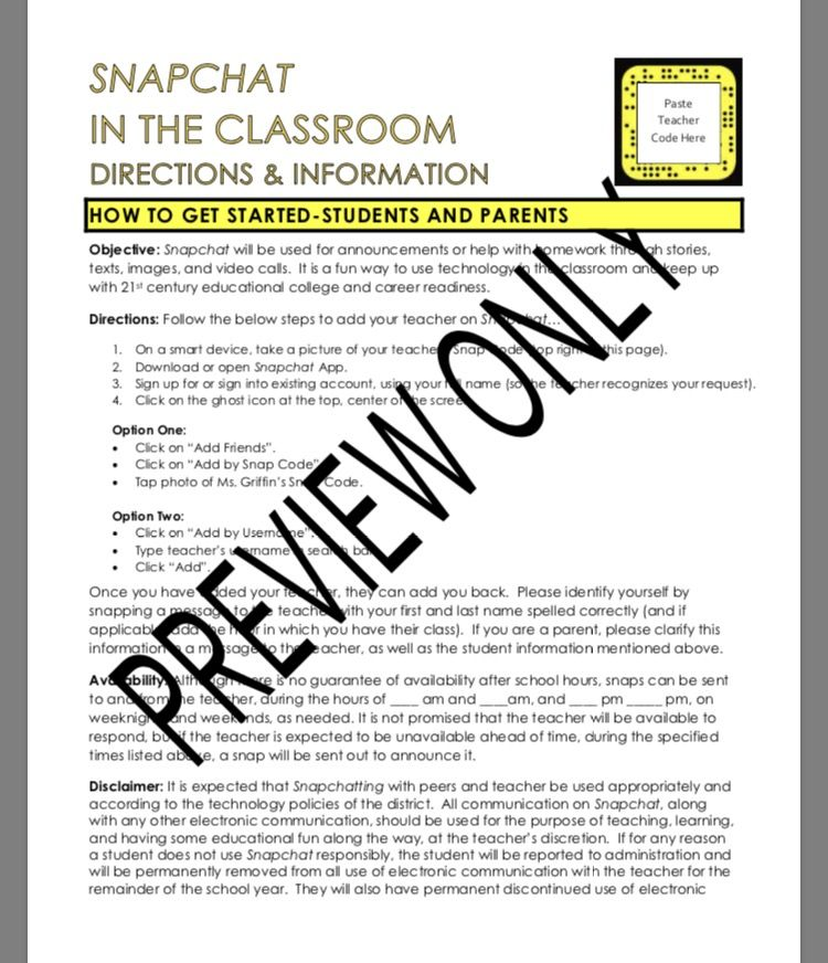Social Media Snapchat in School-Directions, Student Reviews - work release form