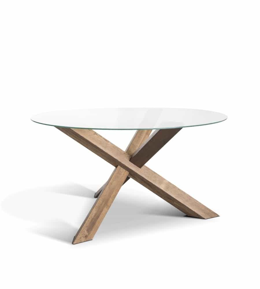 Tisch Rio – runder Esstisch aus Holz und Glas
