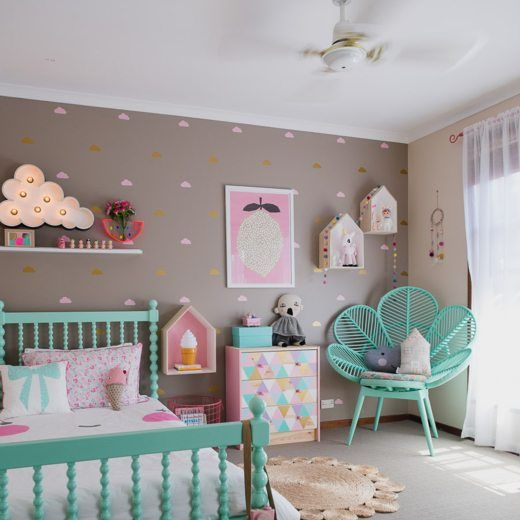 21 Creative Accent Wall Ideas For Trendy Kids Bedrooms: One Room, Three Looks: A Cotton Candy-Inspired Girl's Room