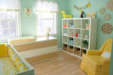 Love The Aqua Walls Straw Rug And Yellow Accents 20 Creative Baby Nursery Ideas