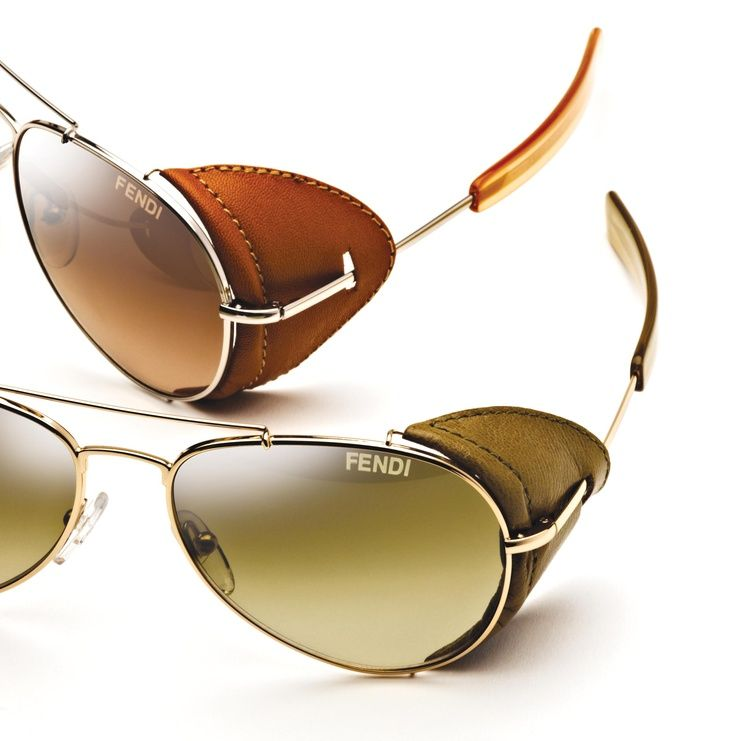 d19526bfc54 Fendi takes the classic aviator to a new level with leather side shields on  each temple. This frame is sleek and stylish with detailing adding a unique  ...