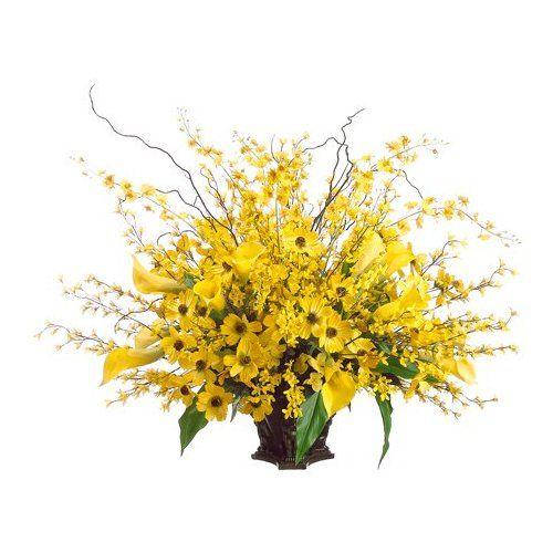 36 calla lily oncidium orchid forsythia silk flower arrangement - Forsythia Arrangements