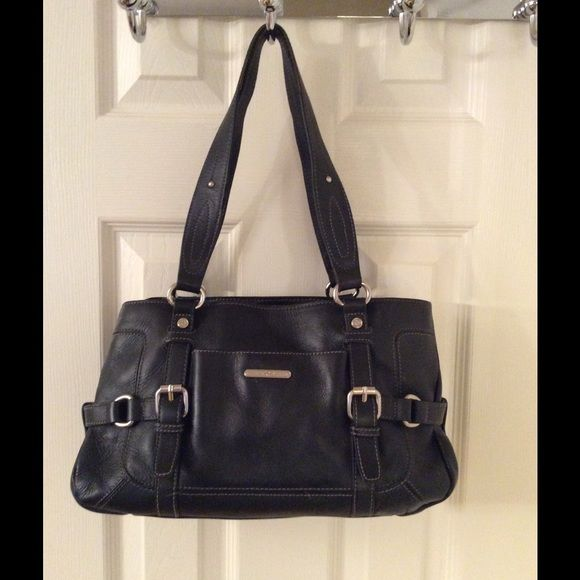 Etienne Aigner Black Leather Shoulder Bag Silver Hardware Front Magnetic Pocket Closure 3 Interior Compartments 1 Zips