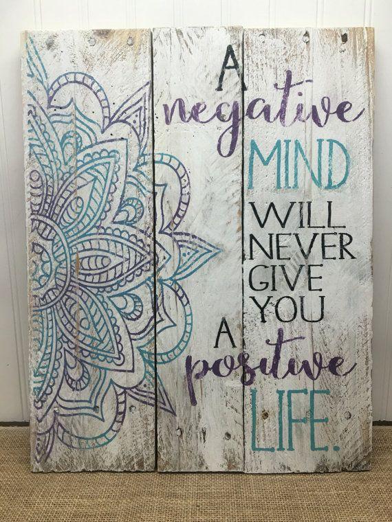 Rustic pallet wall art mandala positive life sign wood wall art gifts for her yoga sign positive mindset boho decor 14x18