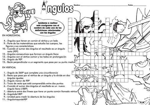 Crucigramas De Angulos Copia Jpg 508 354 Atividades Infantil Estudos