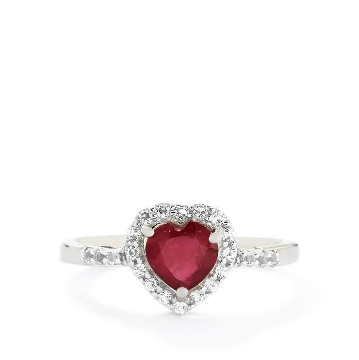 Thai Ruby & White Topaz Sterling Silver Ring ATGW 1.26cts (F)