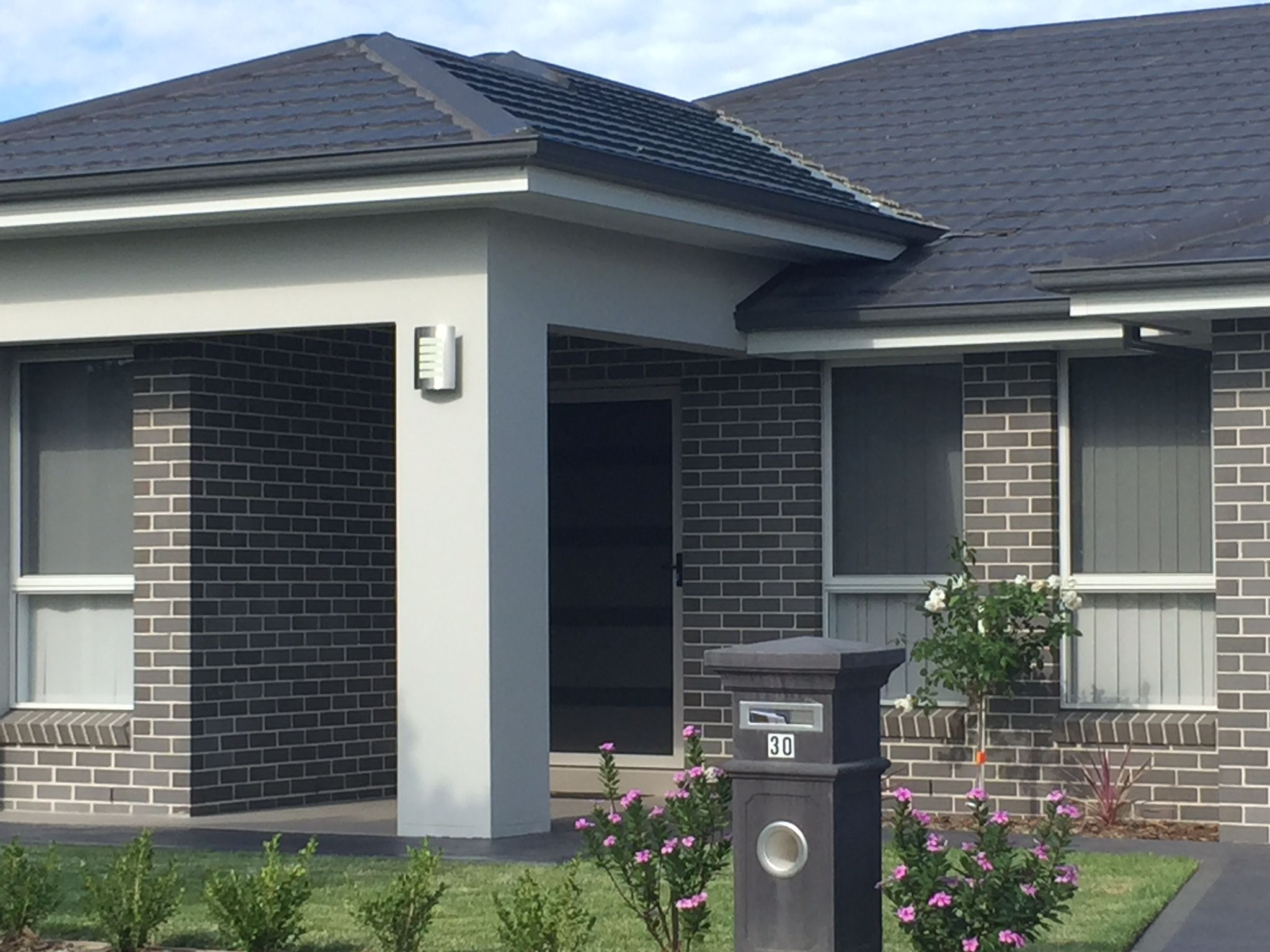 Colorbond roofing colours pictures to pin on pinterest -  Colours Roof And Gutters Colorbond Monument Bricks Austral Bricks Urban One Chiffon Garage Front Door Windows Fascia Colorbond Surfmist