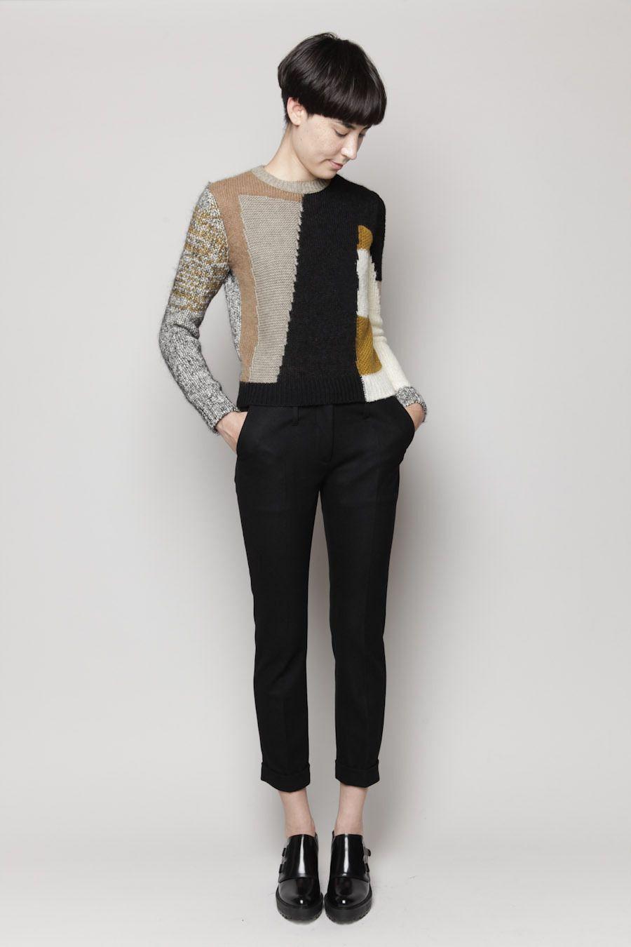 Carven Pullover Patchwork Knit (Multi) | Knitwear | Pinterest ...