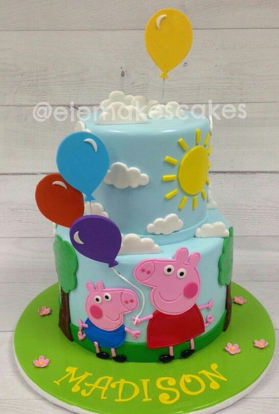 Peppa Pig Cake In 2020 Mit Bildern Kuchen Kindergeburtstag Peppa Wutz Kuchen Torte Kindergeburtstag