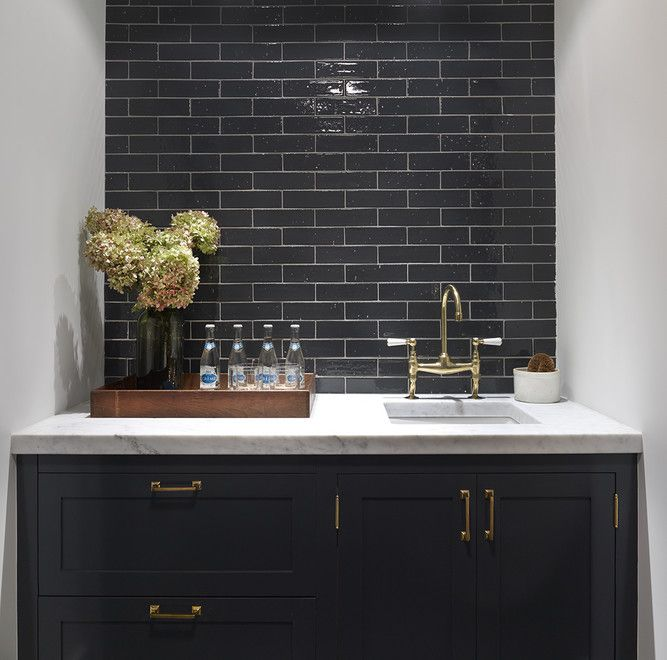 Black Kitchen Cabinets With Brass Hardware, Contemporary