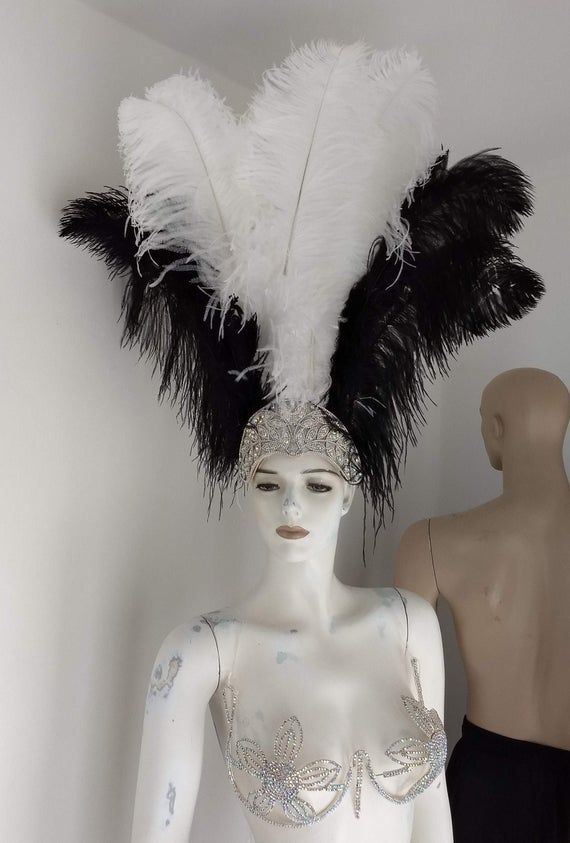 We make and ship our items really fast if you need it for a specific date please let us know. or call/text us at 954-3051817 to complete your order over the phonePrime wing Ostrich Plumes Feathers Carnival Headdress Showgirl  on a Crystal Rhinestone tiara/crownHeaddress approximate height including crown is approx 22