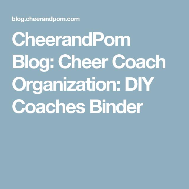 Cheer Coach Organization: DIY Coaches Binder