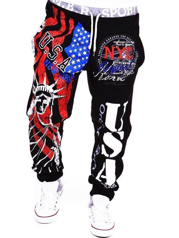 Beam Feet American Flag Statue of Liberty Letters Print Hit Color Lace-Up  Men\u0027s Loose Fit Sweatpants - Black - 2xl