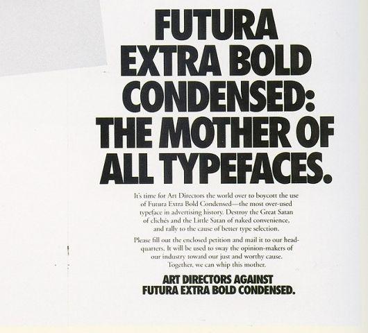FUTURA EXTRA BOLD CONDENCED: THE MOTHER OF ALL TYPEFACES  | Shakara