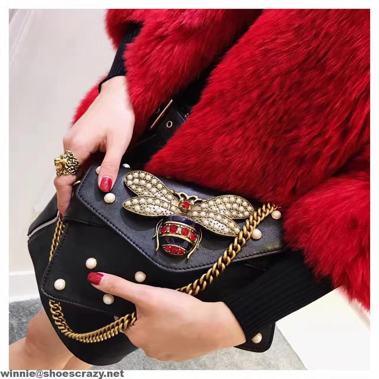 041a3558d96f Gucci Bee   Pearl Embellished Leather Shoulder Bag 2017