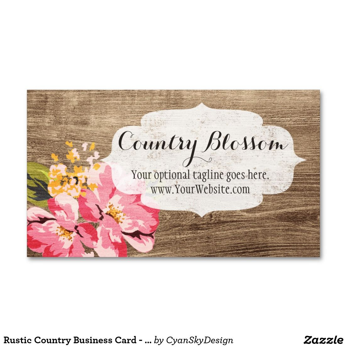Rustic Wood & Painted Pink Hibiscus Flower Country Business Card ...