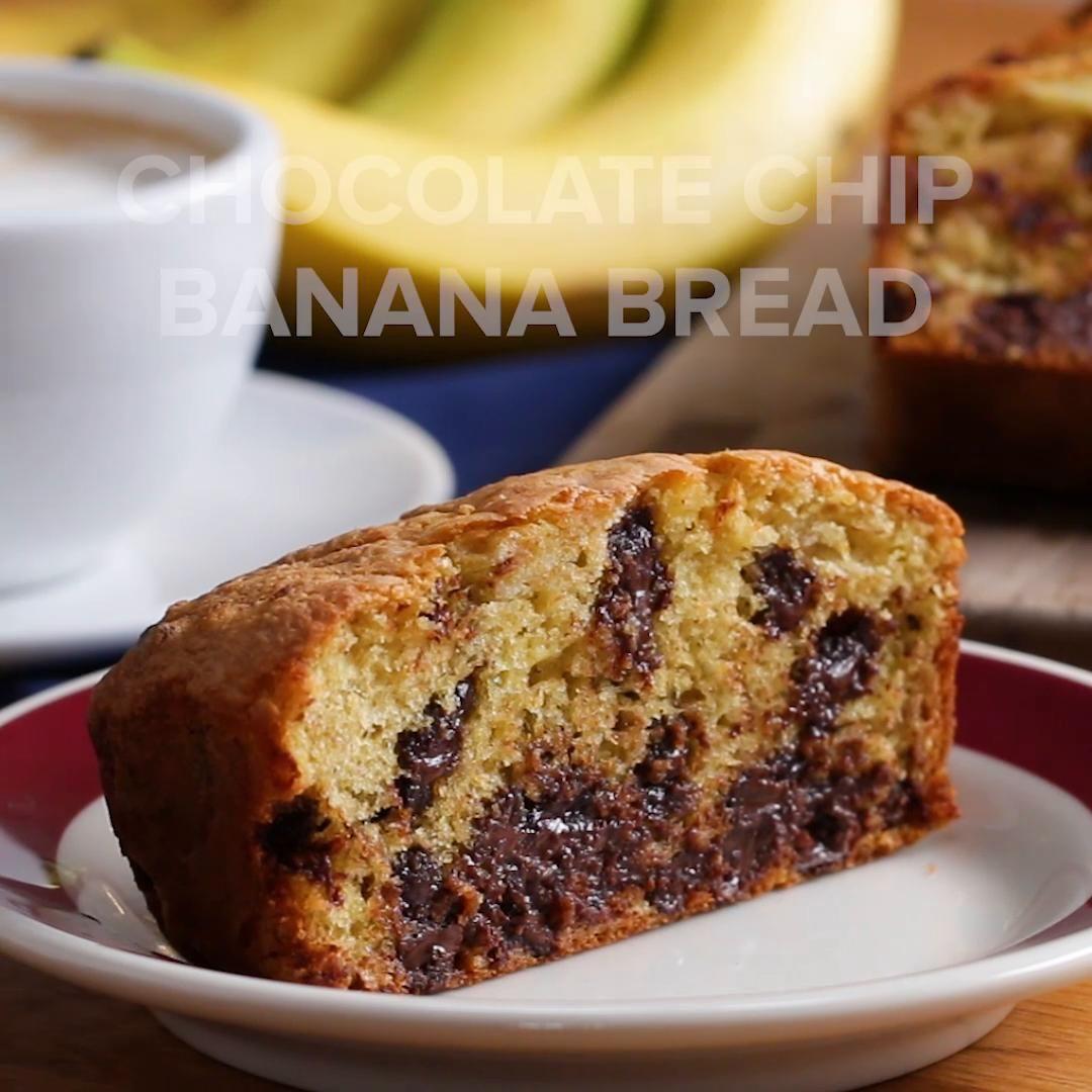 chocolate chip banana box bread recipe by tasty recipe banana chocolate chip chocolate chip banana bread banana bread cake pinterest