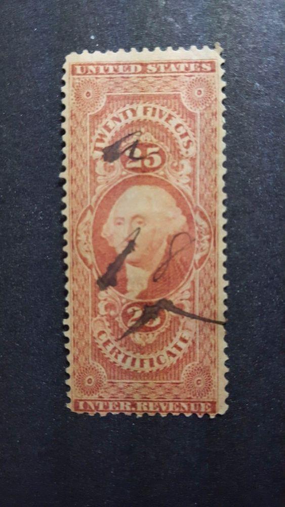 25c Us Revenue Stamp With Manuscript Cancel Revenue Stamp Stamp Auction Sites