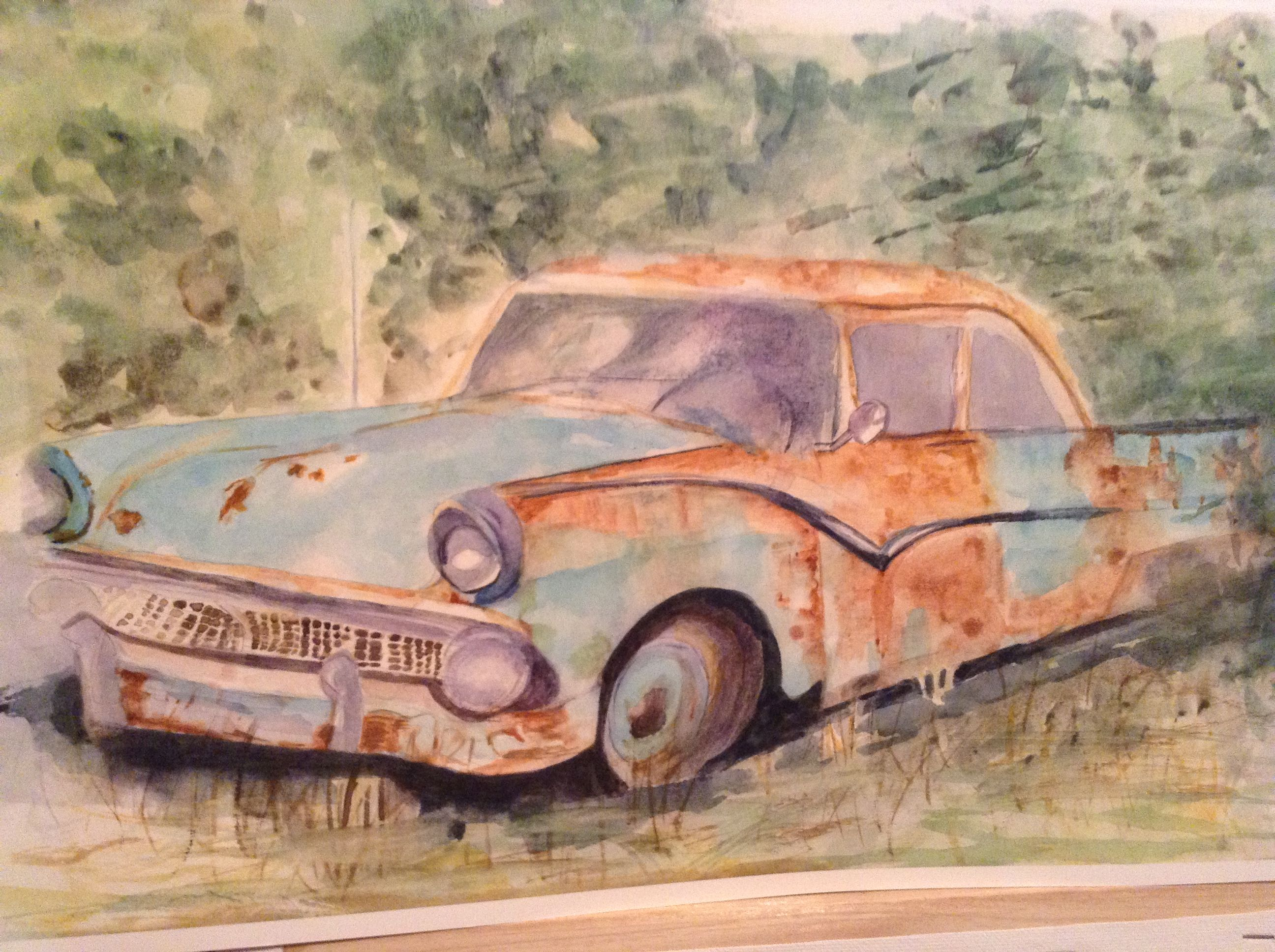 Watercolor painting. Old Ford. | Cars | Pinterest | Moto bike, Ford ...