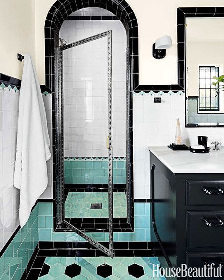 Two bathrooms with bold tile house beautiful 1930s and for Bathroom ideas 1930s semi
