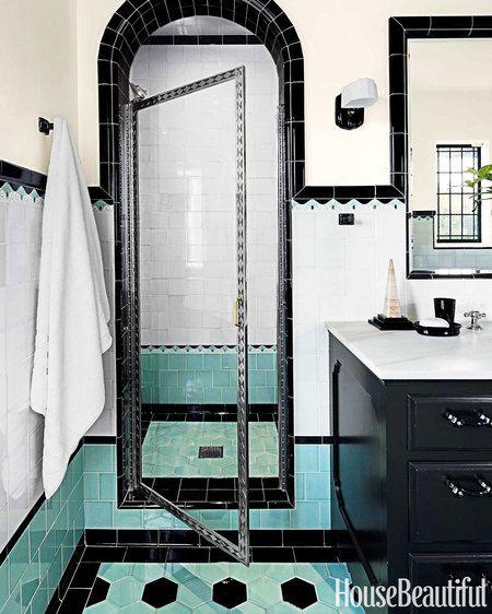 Two Bathrooms With Bold Tile Bathroom Interior Design Bathroom
