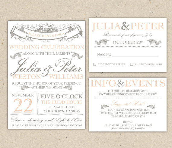 Vintage Modern Wedding Invitation Template Set Printable DIY - Wedding invitation templates: modern wedding invitations templates