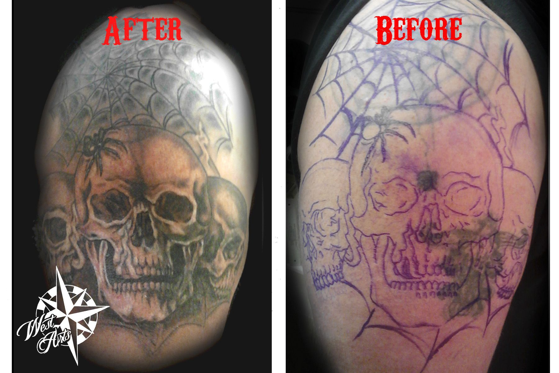 Skull & Spider Web Tattoo Cover-Up | Magnuse projekt | Tattoos, Web ...