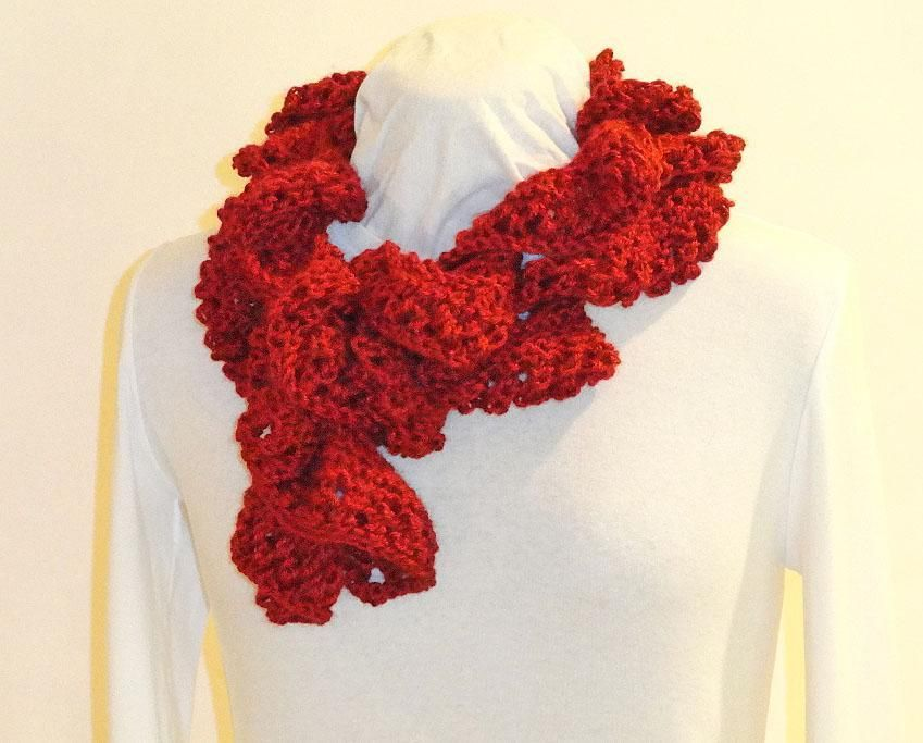 Knit Spiral Scarf With Lacy Edge Scarves And Patterns