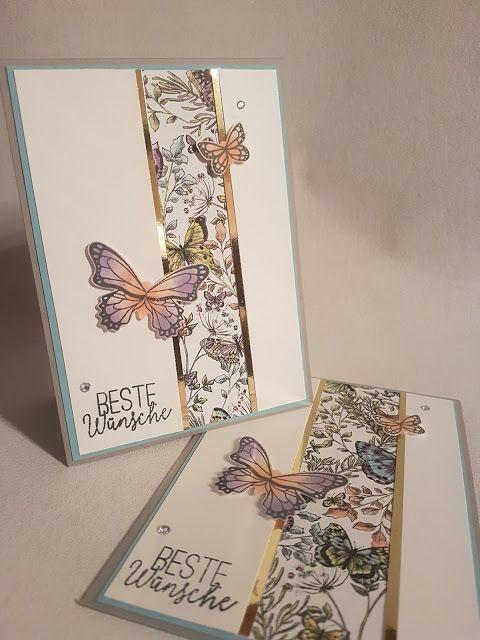 Karte - Schmetterlinge - Stoffpapier - stoffpapier - stampinup - Stampin'Up! - su - diy - basteln - kreativ - stampin up #birdfabric