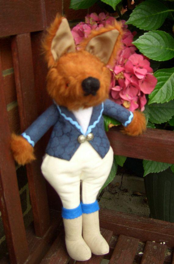 Francis FoxDressed ToyChestnut PlushBlue Felt by COLDHAMCUDDLIES, £35.00
