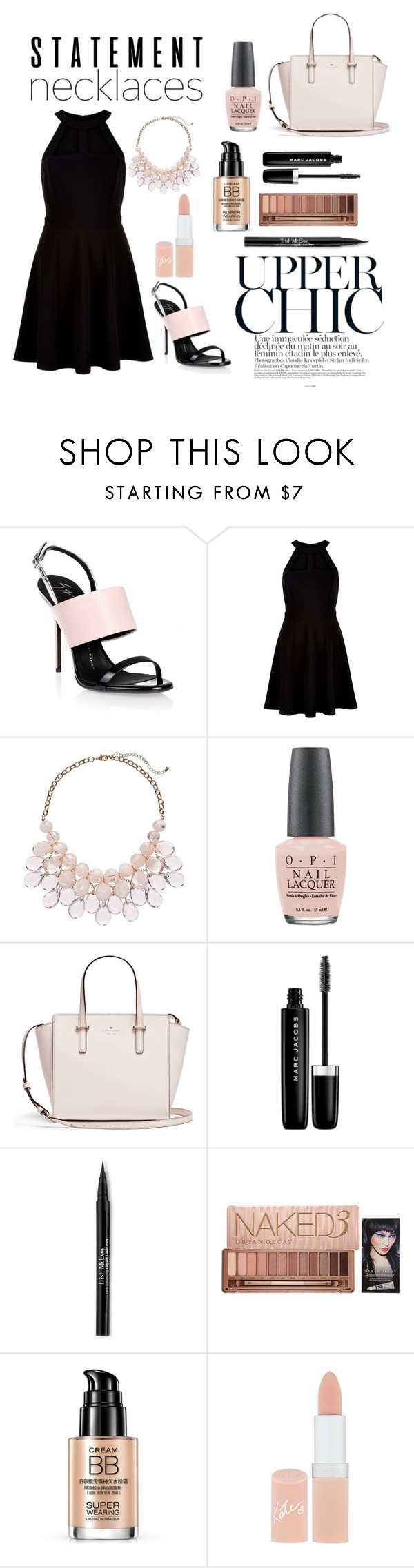 """Statement Necklace"" by fashion4infinity22 ❤ liked on Polyvore featuring Giuseppe Zanotti, New Look, OPI, Marc Jacobs, Trish McEvoy, Urban Decay, Rimmel and statementnecklaces"