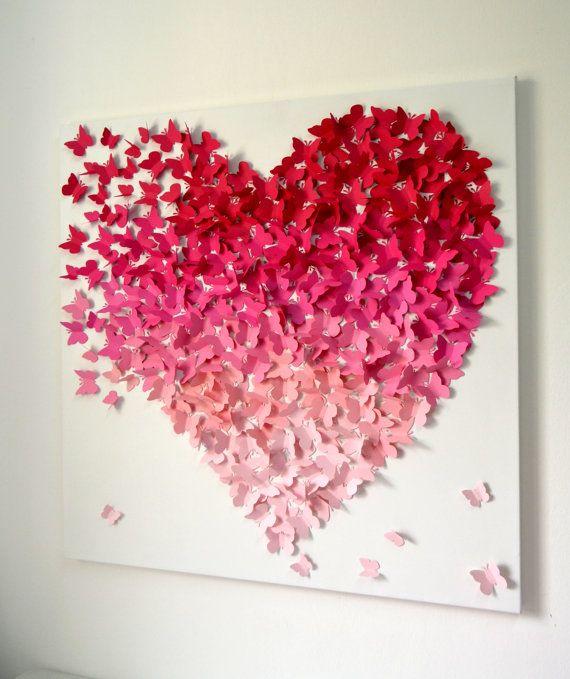 3d Butterfly Wall Art In Pink Ombre Modern 3d Butterfly Art For