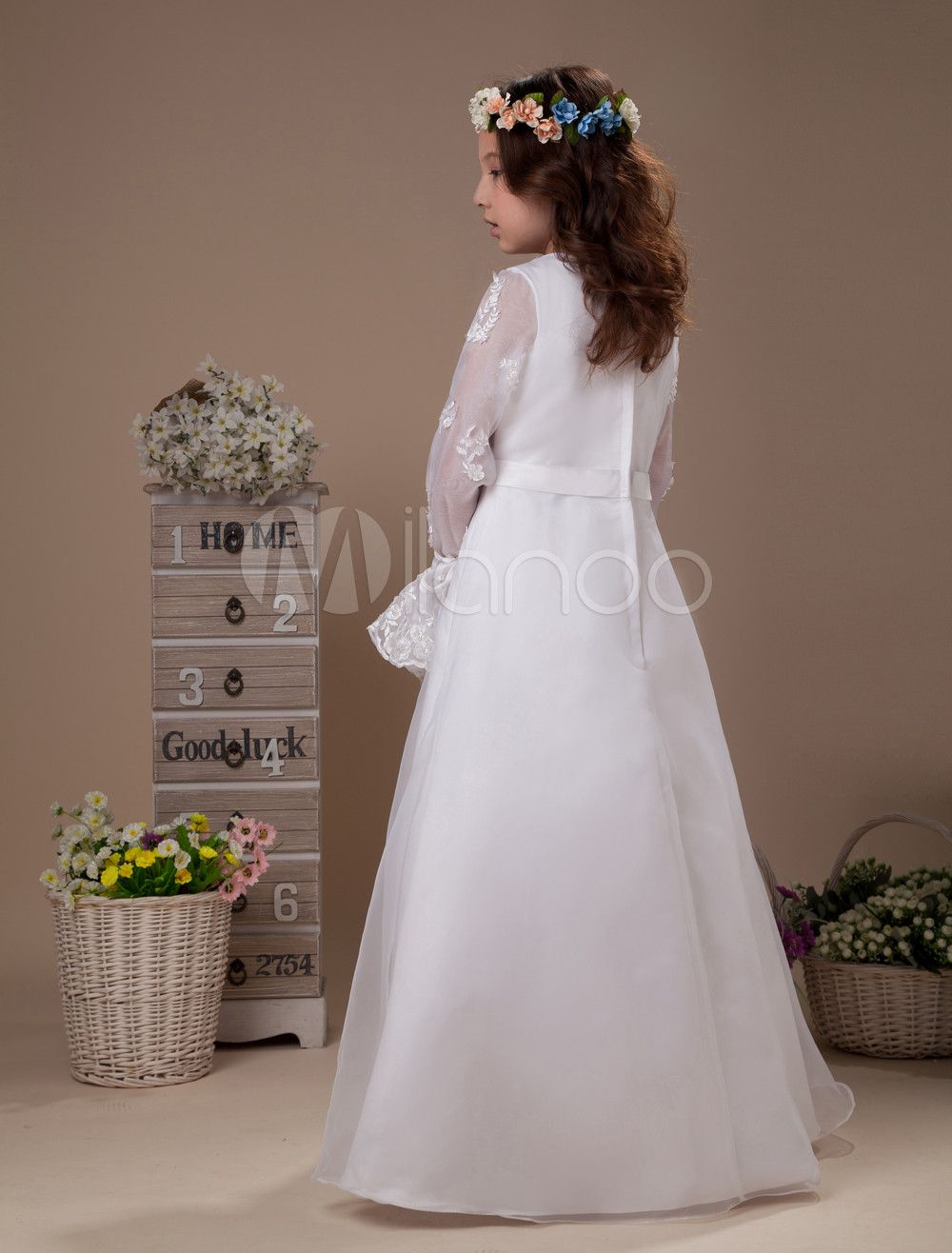 ec65acfa926 White Flower Girl Dress Boho Long Sleeves Embroidery Satin Kids Formal  Party Dress  Dress