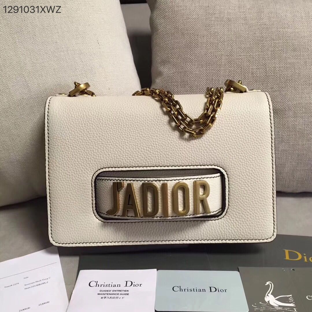 030a78ee6d69 Christian Dior CD jadior chain flap shoulder bag clutch purse grainy  leather white