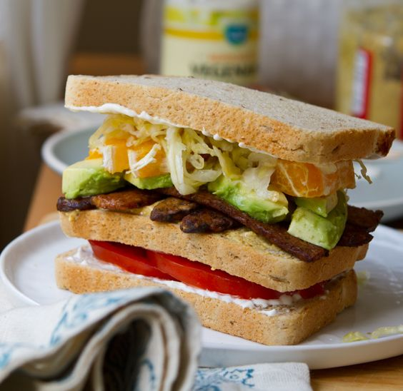 California Club with citrus, avocado, smoky tempeh bacon, tomato, toast. Plus a #giveaway #vegan #sandwich