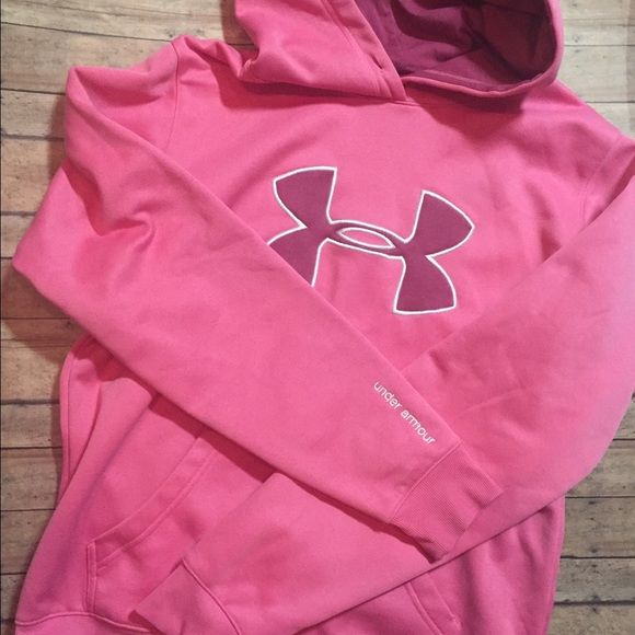 Pink Under Armour Hoodie Under Armour Hoodie- missing strings (as pictured) Under Armour Tops Sweatshirts & Hoodies