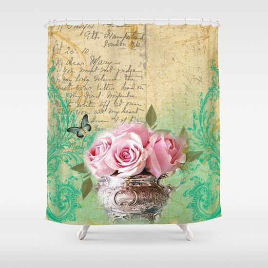 Vintage Roses #5   Pretty Beautiful Flower Floral Shower Curtain