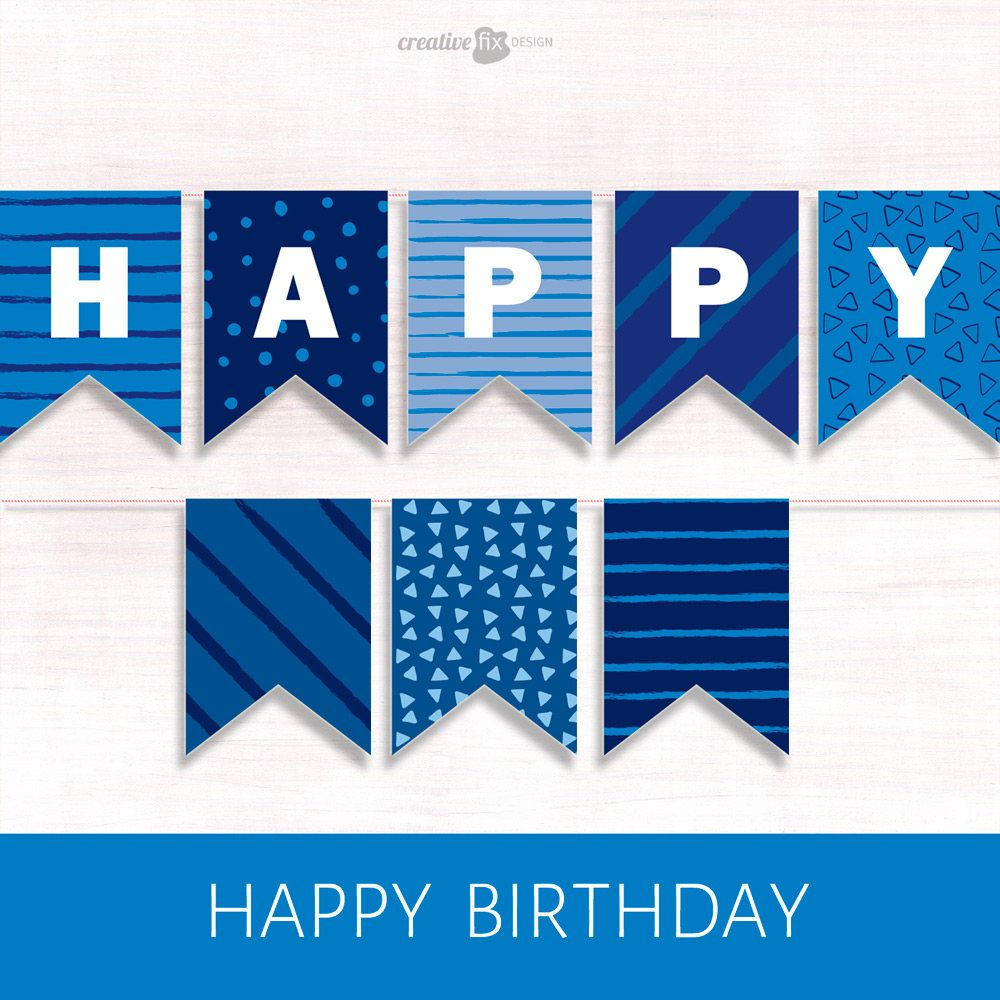 Happy Birthday Banner Blue Printable Banner Blue Happy Birthday Diy Decor Blue Bunting Flags Birthday Wall Decor Party Banner Paper Banner In 2020 Happy Birthday Banner Printable Happy Birthday Banner Printable