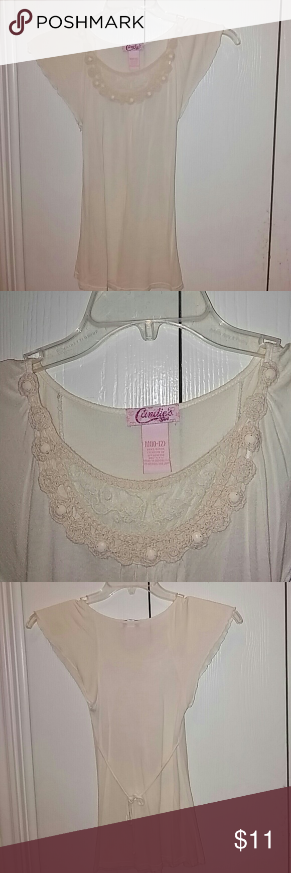 Candie's Girl blouse Cream colored blouse used 2 times. Candie's Tops Blouses