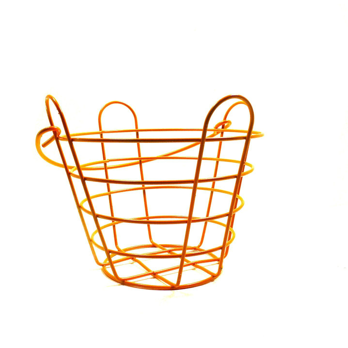 Vintage wire basket, retro decor, orange, easter, baskets, kitchen ...