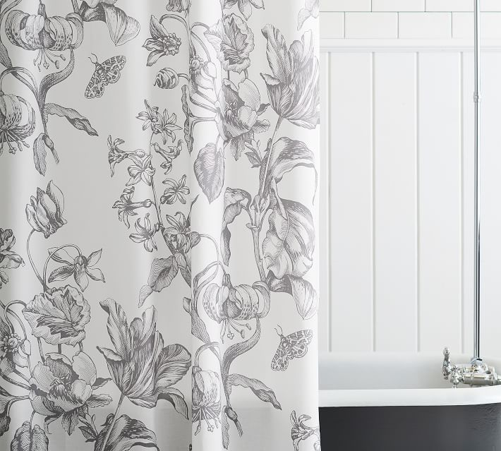 Pippa Printed Organic Shower Curtain In 2020 Cool Shower