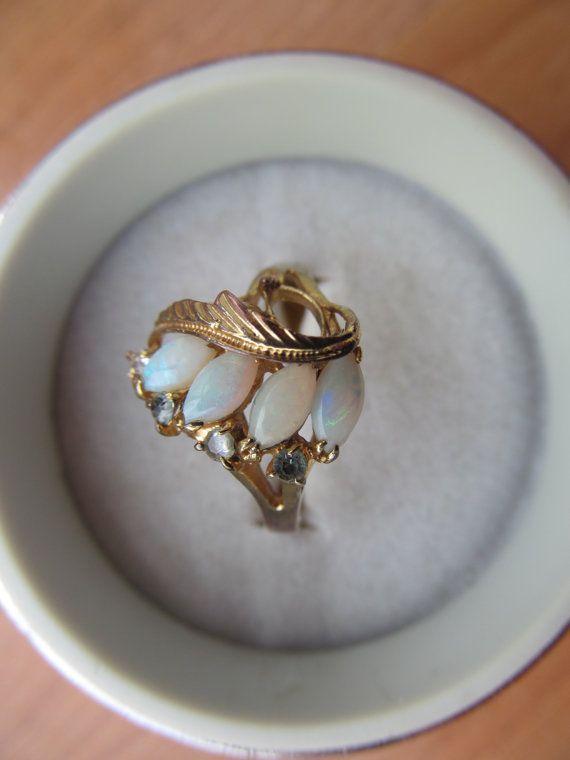 Vintage 18k faux opal ring size 8.5 fun cocktail by lolatrail, $24.00