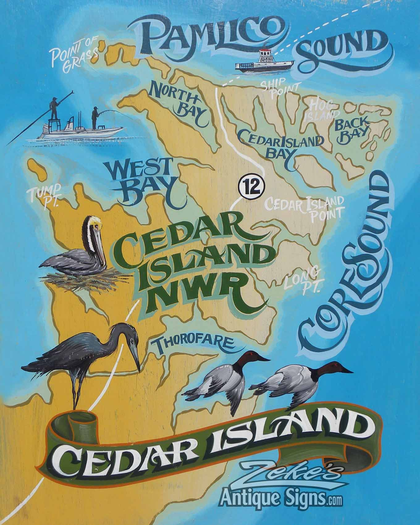Cedar Island Map Print From An Original Hand Painted And Lettered